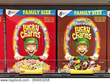 Alameda, Ca - Sept 9, 2020: Grocery Store Shelf With General Mills Brand Cereal, Lucky Charms. Regul