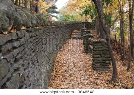 Stone Wall Along Hiking Trail