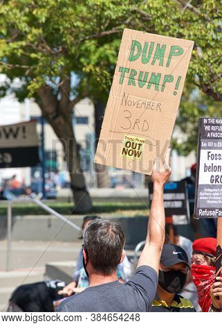 San Francisco, Ca - Sept 5, 2020: Nationwide Mass Protest To Demand Trump Pence Out Now! Bay Area Ev