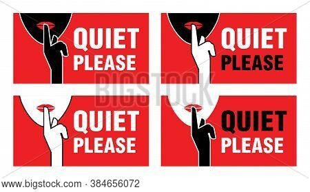Quiet Please - Info Board For Room With Required Level Of No Noise - Finger Pressing Lips And Female