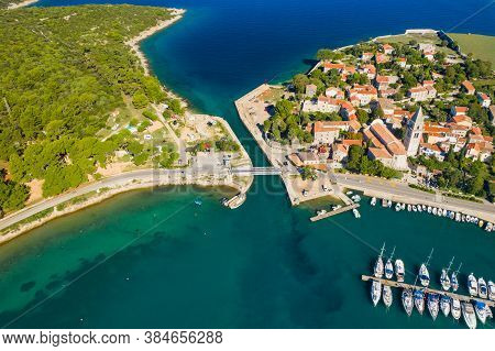 Historic Town Of Osor With Bridge Connecting Islands Cres And Losinj, Croatia, Aerial View From Dron