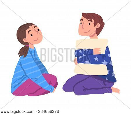 Slumber Party, Cute Boy And Girl In Pajamas Sitting On Floor And Talking Cartoon Style Vector Illust