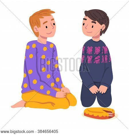 Slumber Party, Cute Boys In Pajamas Sitting On Floor And Eating Pie Cartoon Style Vector Illustratio