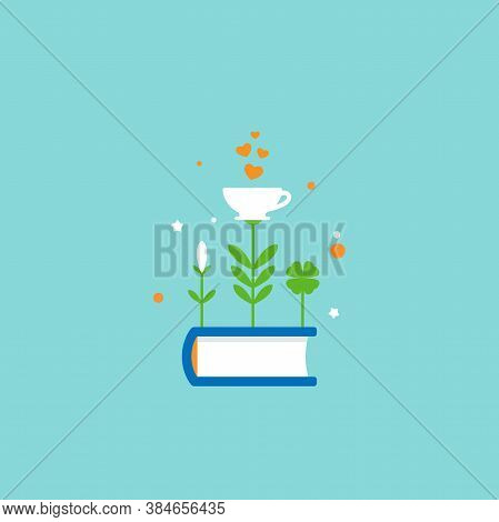 Book With Grass And Cup With Red Hearts. Isolated On Blue Background. Bibliophile Flat Icon