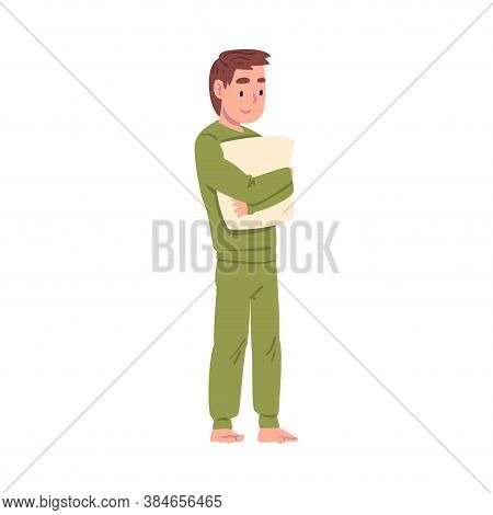 Slumber Party, Boy In Pajamas Standing With Pillow Cartoon Style Vector Illustration