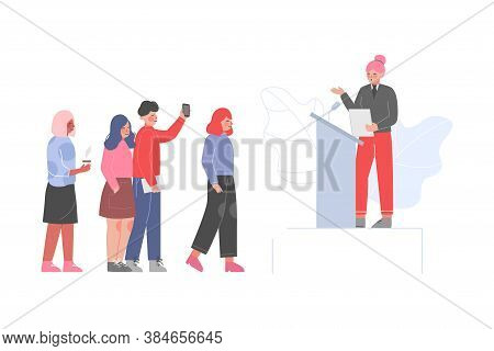 Female Politician Standing Behind Rostrum And Giving Speech, Businesswoman Public Speaker Giving Tal