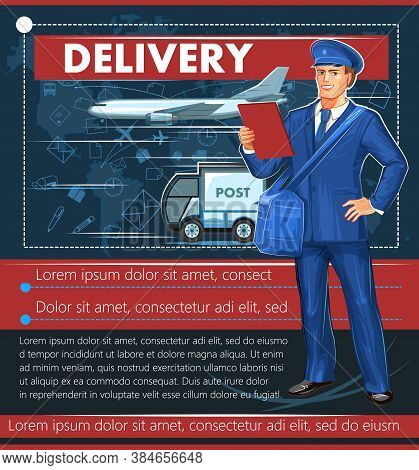 Postal Delivery By Different Types Of Transport. Vector Illustration. A Postman In Uniform And A Cap