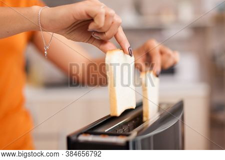 Wife Roasting Bread Slices On Electric Toaster For Breakfast Meal. Housewife Using Bread Toaster For