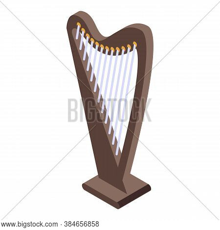 Concert Harp Icon. Isometric Of Concert Harp Vector Icon For Web Design Isolated On White Background