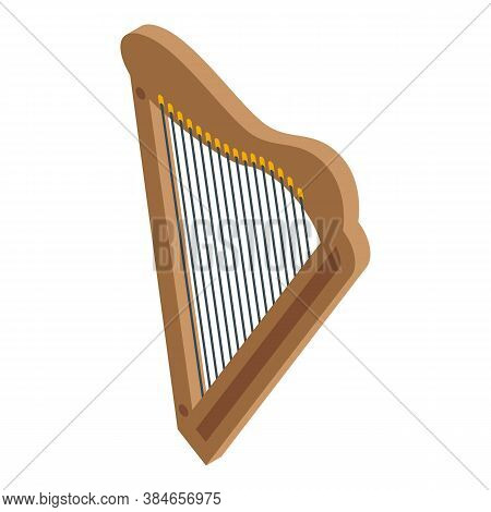 Greek Harp Icon. Isometric Of Greek Harp Vector Icon For Web Design Isolated On White Background