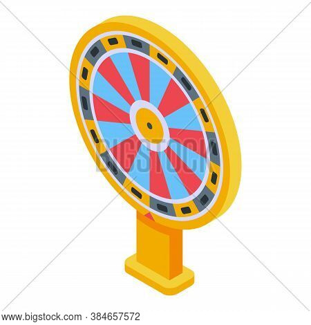 Lucky Wheel Lottery Icon. Isometric Of Lucky Wheel Lottery Vector Icon For Web Design Isolated On Wh