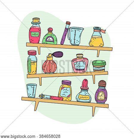 Perfume Bottles, Beakers And Essential Oils On The Rack. Preparation Of Perfumes. Vector Illustratio