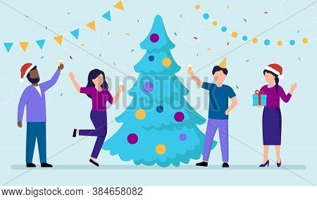 Group Of People Celebrating Winer Holidays. New Year S Eve Or Christmas Concept Vector Illustration