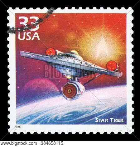 United States Of America, Circa 1999: A Postage Stamp Printed In Usa Showing An Image Of A Star Trek