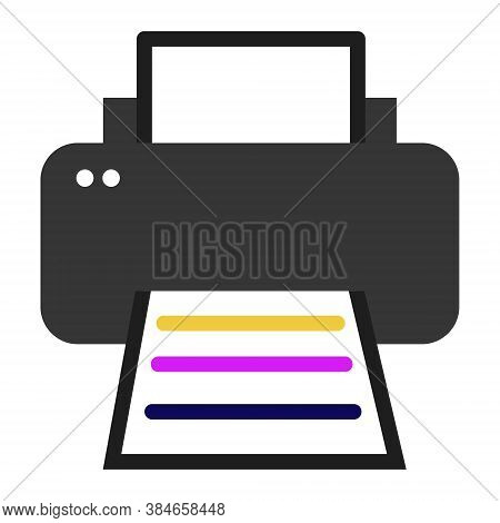 Simple Color Flat Printer Icon With Sheet Of Paper. Vector Graphics Of The Cmyk Print