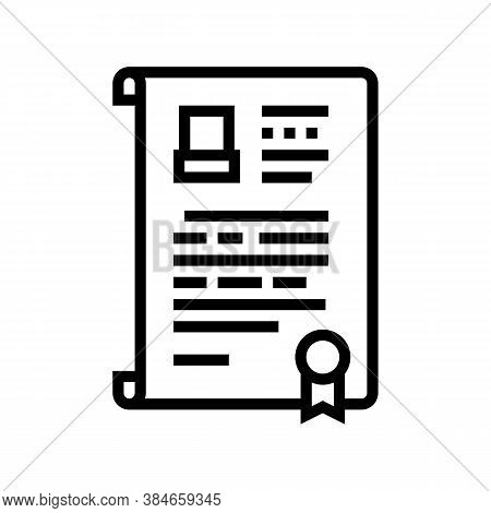 Will Death Certificate Line Icon Vector. Will Death Certificate Sign. Isolated Contour Symbol Black