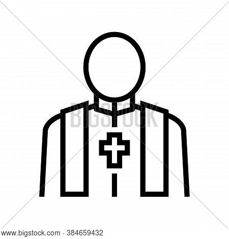 Priest Pastor Line Icon Vector. Priest Pastor Sign. Isolated Contour Symbol Black Illustration