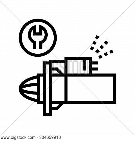 Starter Repair And Replacement Line Icon Vector. Starter Repair And Replacement Sign. Isolated Conto