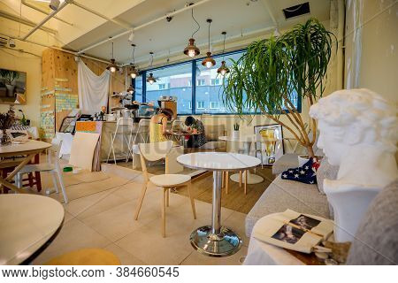 Gangseo,south Korea-august 2019: Rustic Wooden Interior Of A Cafe. Homey Modern Cafe Decorations