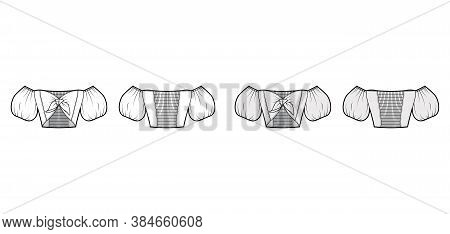 Tie-front Cropped Off-the-shoulder Top Technical Fashion Illustration With Bow-detailed Front, Short