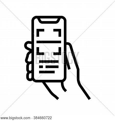 Scanning Qr Code Phone App Line Icon Vector. Scanning Qr Code Phone App Sign. Isolated Contour Symbo
