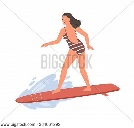 Active Female In Swimsuit Standing On Surfboard Vector Flat Illustration. Sportswoman Ride On Wave E