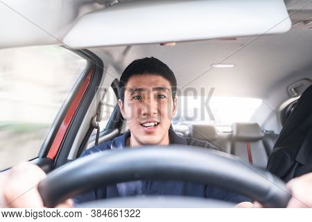 Young Asian Man Driving Car He Sometimes Smile So Happy Drive To Travel During The Outbreak Coronavi