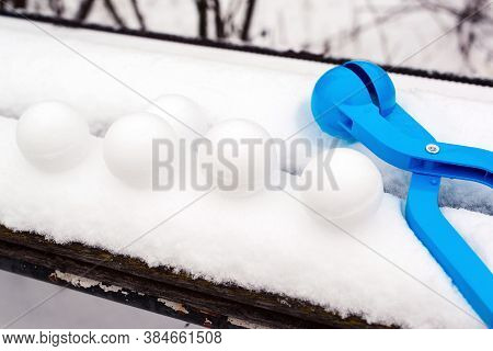 Snowballs Game. Outdoors. Snowballs With Snowball Maker. Kid Winter Games With Snow.