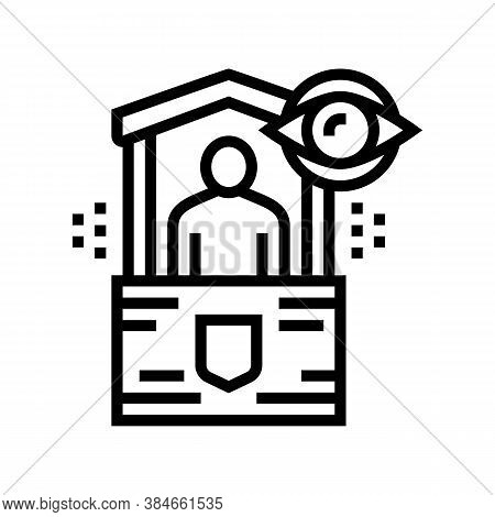 Security Post Line Icon Vector. Security Post Sign. Isolated Contour Symbol Black Illustration