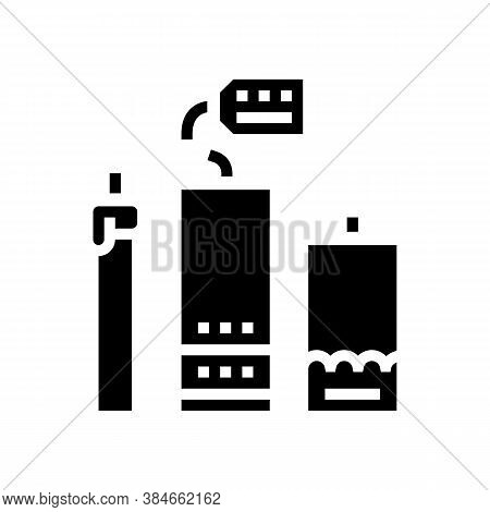 Homemade Candles Glyph Icon Vector. Homemade Candles Sign. Isolated Contour Symbol Black Illustratio