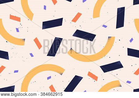 Geometric Simple Shapes And Figures Vector Flat Illustration. Abstract Textured Rectangle And Semici