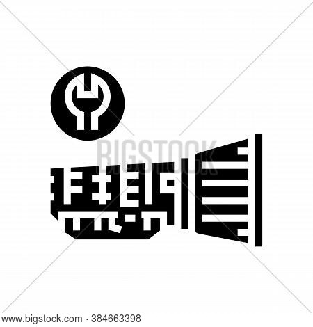 Gearbox Repair Glyph Icon Vector. Gearbox Repair Sign. Isolated Contour Symbol Black Illustration