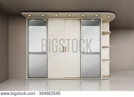 House Entryway Closet Isolated On White Background. 3d Illustration.