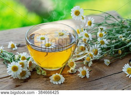Herbal chamomile tea and chamomile flowers on wooden table. Countryside background.Rural or countryside background.