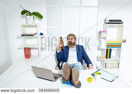 Drunk Man At The End Of The Working Day. Drunk Businessman In Office. Concept Of Alcoholism