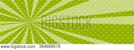 Cartoon Retro Pop Art Banner With Sunbeam, Dots On A Green Banner And The Suns Rays , Illustration