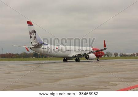 PRAGUE - NOVEMBER 01: A Norwegian Air Shuttle Boeing 737-800 taxis on November 01 2012 in Prague Cze