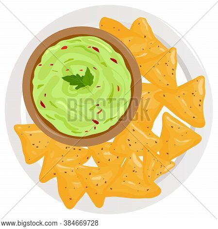 Dish With Avocado Guacamole Sauce And Nachos Chips. Vector Illustration