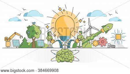 Innovation As Creative Idea Thinking Brainstorm Process Scene Outline Concept. Invention Development