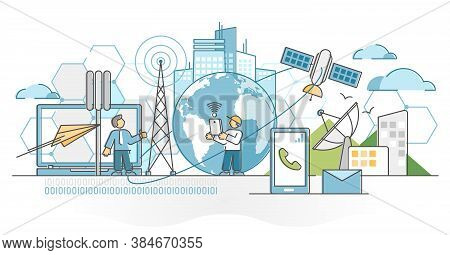 Telecommunications Industry With Satellite Data Signal Wave Outline Concept. Phone And Internet Comm