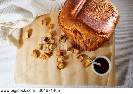 Square Toasted Pieces Of Homemade Delicious Rusk, Hardtack, Dryasdust, Zwieback, Bread And Liquid Ho