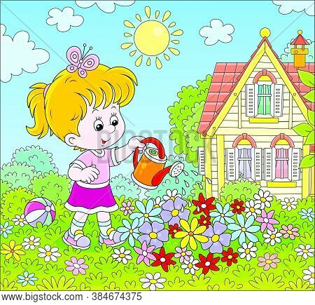 Smiling Little Girl Watering Colorful Flowers On A Flowerbed On A Green Lawn In Front Of Her House O