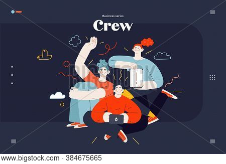 Business Topics - Our Team, Web Template. Flat Style Modern Outlined Vector Concept Illustration. A