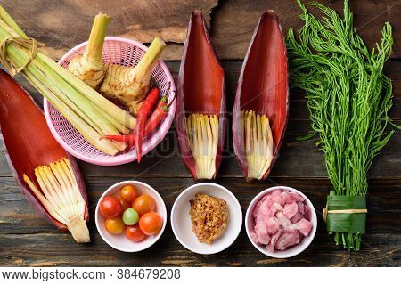 Banana Flower With Vegetables And Pork Preparing For Cooking, Edible Plant In Southeast Asian Cuisin