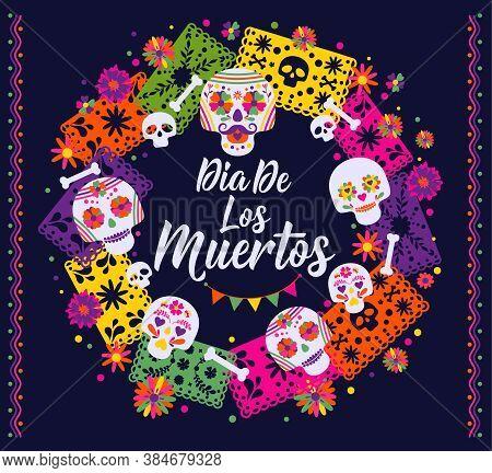 Dias De Los Muertos Typography Banner Vector. In English Feast Of Death. Mexico Design For Fiesta Ca