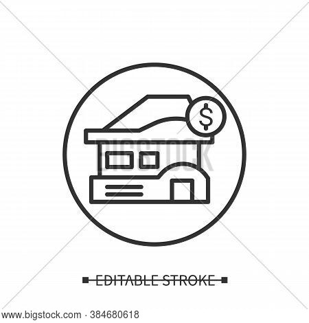 House Price Icon. Real Estate Object With Dollar Currency Linear Pictogram. Buying First Home, Goal