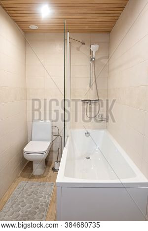 Fragment With Shower And Wc Of A Luxury Modern Bathroom In Apartment