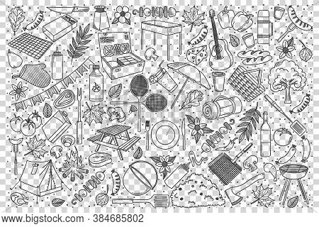 Picnic Doodle Set. Collection Of Hand Drawn Patterns Sketches Templates Of Hiking Touristic Equipmen