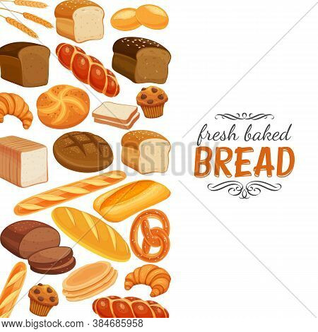 Bread Products Template Page Design. Vector Rye Bread And Pretzel, Muffin, Pita, Ciabatta And Croiss
