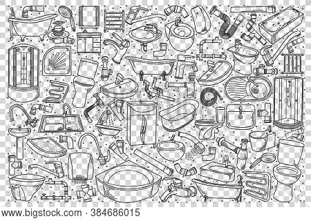 Plumbing Fixtures Doodle Set. Collection Of Hand Drawn Sketches Templates Patterns Of House Tools Ba